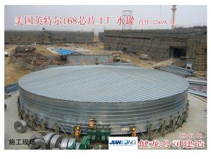 美国英特尔f68芯片工厂水罐施工现场 直径32m*9.5m